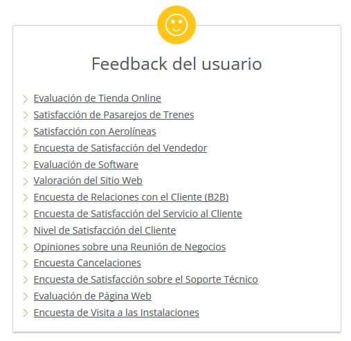 encuestas de feedback de usuario